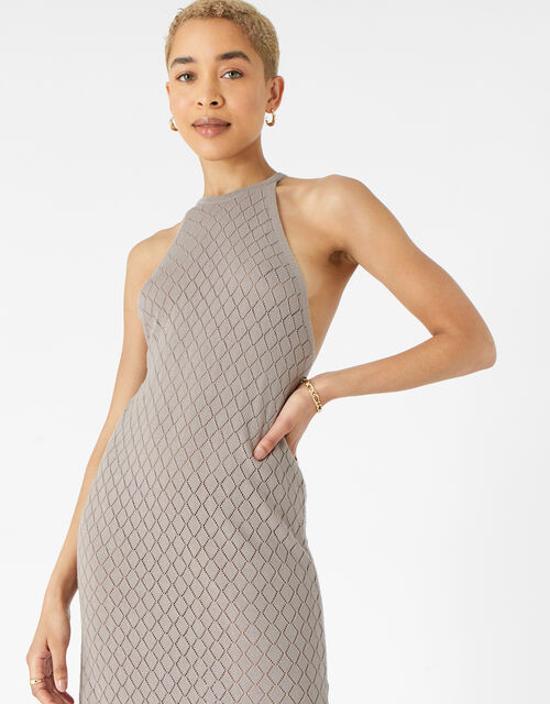 Knitted Midi Dress , Cream (TAUPE), large