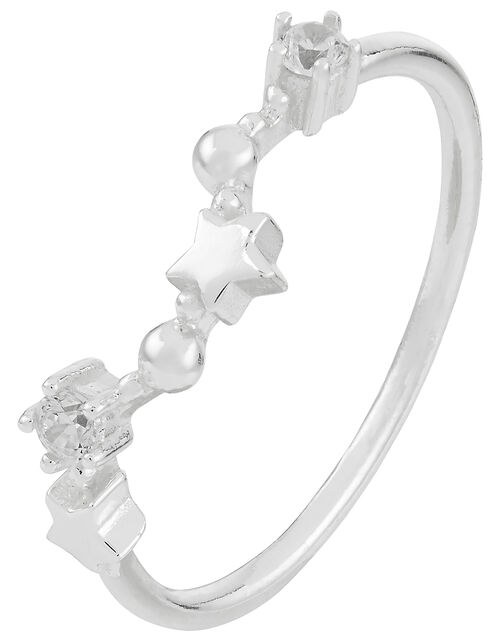 Sterling Silver Pisces Constellation Ring, White (ST CRYSTAL), large