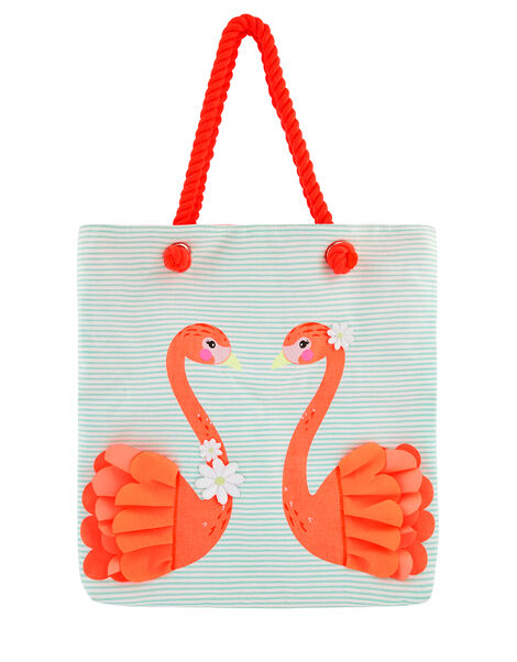 Flora Flamingo Striped Shopper Bag, , large