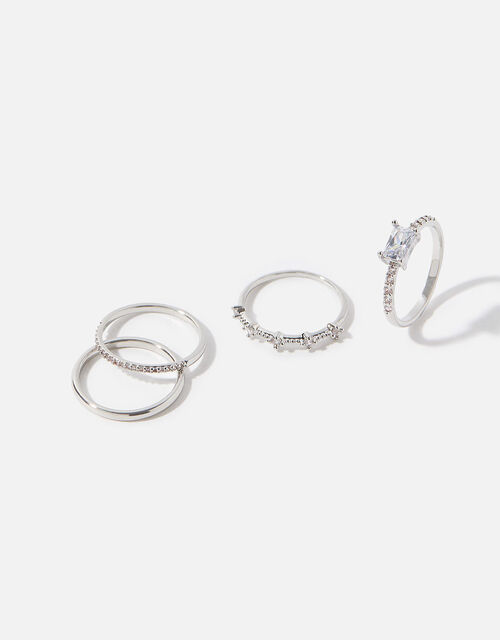 Platinum-Plated Sparkle Stacking Rings, Silver (SILVER), large