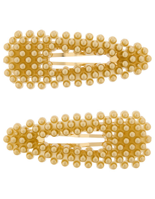 Gold Pearl Hair Clips, , large