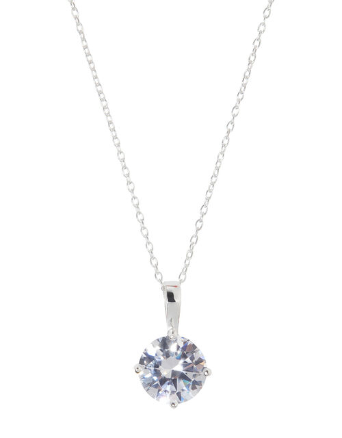 Sterling Silver Round Solitaire Necklace, , large