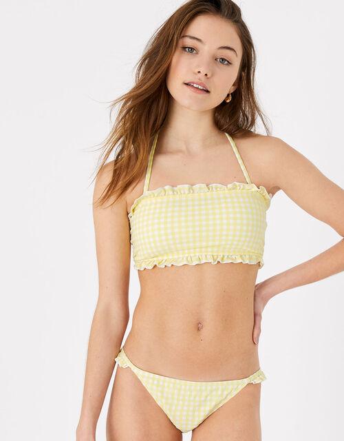 Gingham Bikini Briefs, Yellow (YELLOW), large