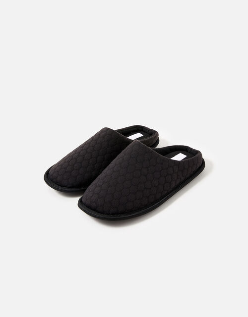 Bubble Stitch Slippers, Black (BLACK), large
