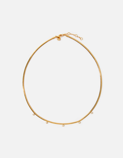 Gold-Plated Sparkle Stone Collar Necklace, , large