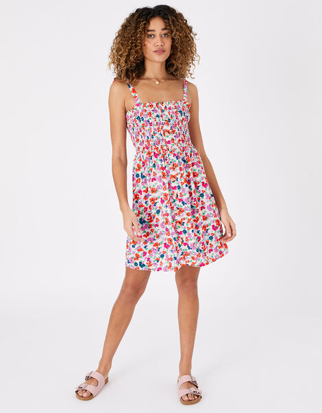Floral Dress in LENZING™ ECOVERO™ Multi, Multi (BRIGHTS-MULTI), large