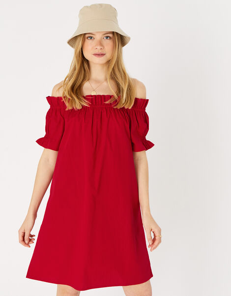 Poplin Frill Bardot Dress  Red, Red (RED), large