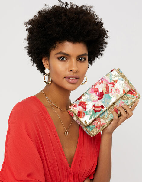 Tasmin Floral Embellished Clutch Bag, , large