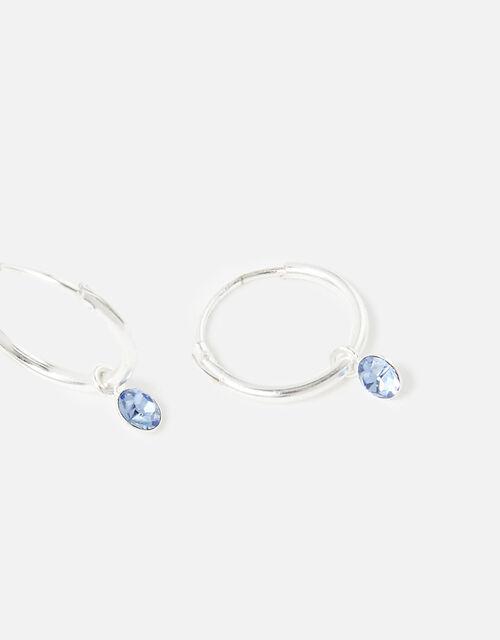 Sterling Silver Crystal Hoop Earrings, , large