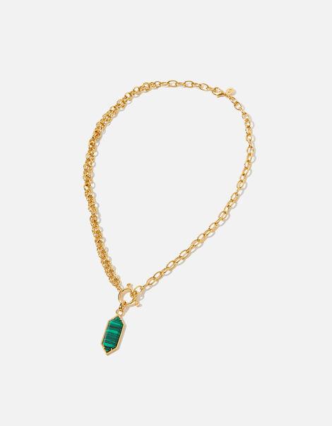 Gold-Plated Malachite Pendant Necklace, , large