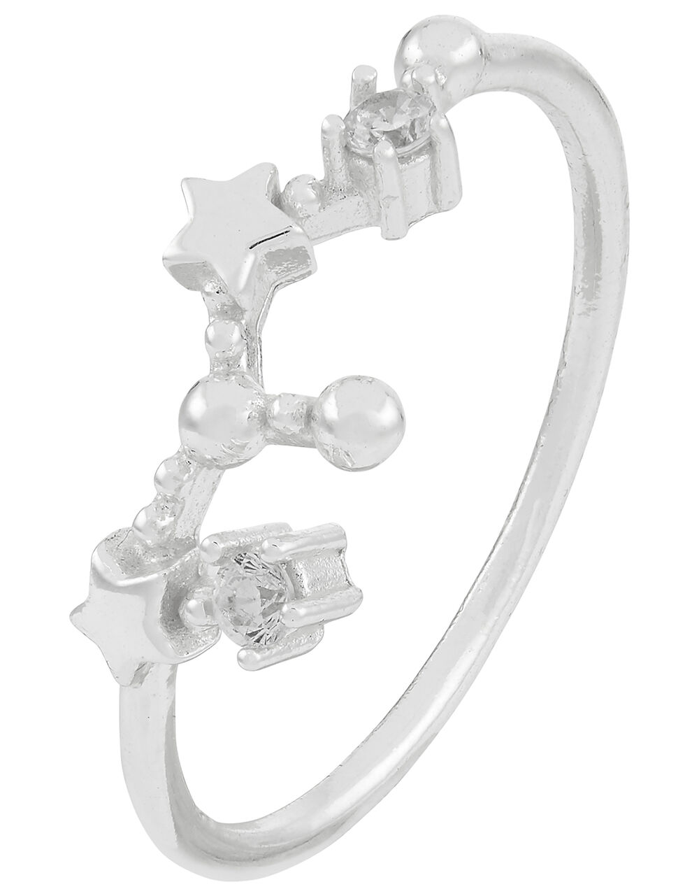 Sterling Silver Leo Constellation Ring, White (ST CRYSTAL), large