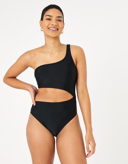 Asymmetric Cut-Out Swimsuit, Black (BLACK), large