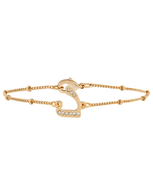 Gold-Plated Arabic Initial Bracelet - D, White (CRYSTAL), large