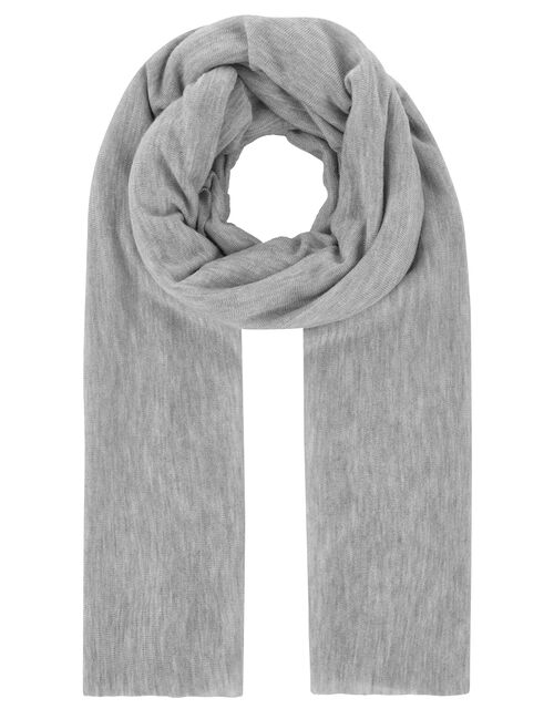 Lightweight Knitted Scarf, Grey (GREY), large