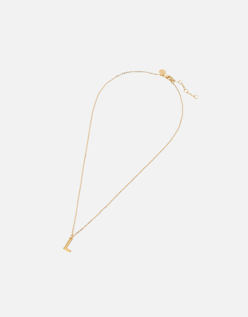 Gold-Plated Initial Pendant Necklace, Gold (GOLD), large