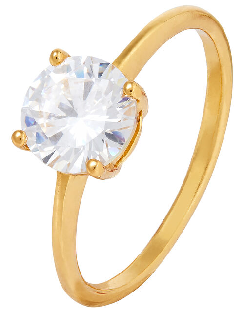 Sterling Silver Round Solitaire Ring, Gold (GOLD), large