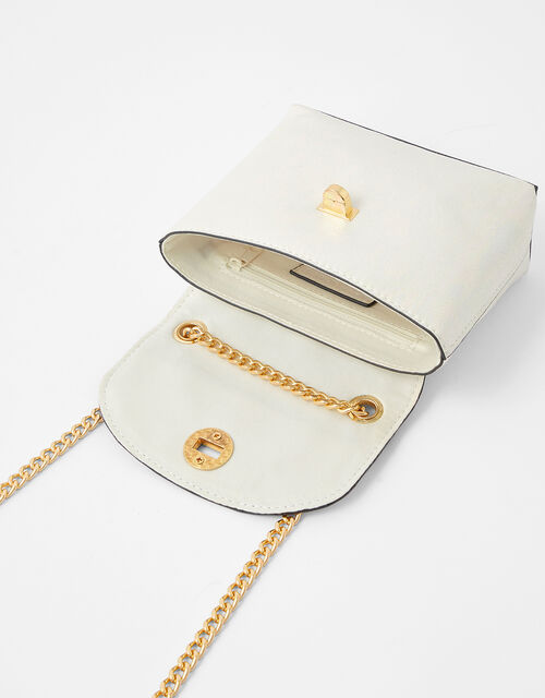 Mini Metallic Bag, White (WHITE), large