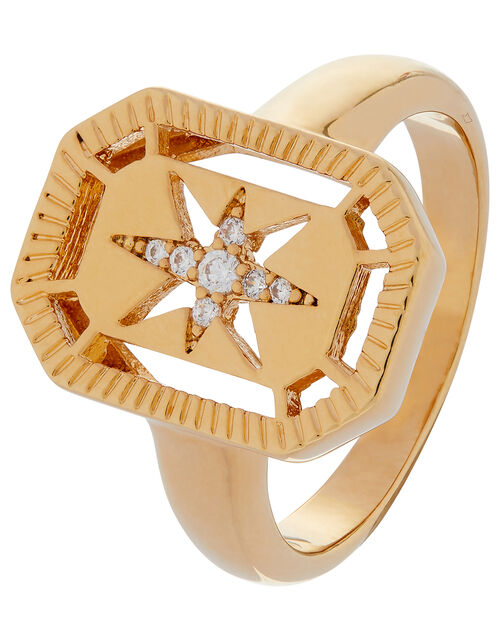 Gold-Plated Crystal Star Ring, Gold (GOLD), large