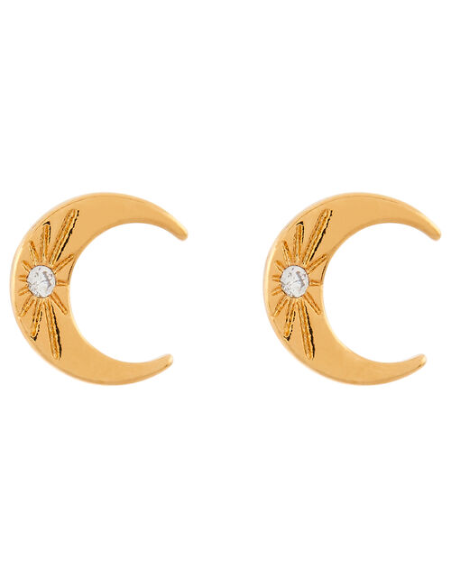 Gold-Plated Horn Stud Earrings, , large