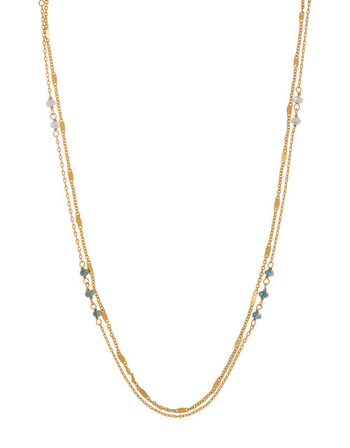 Gold-Plated Beaded Layered Necklace, , large