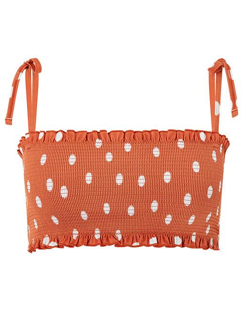 Polka Dot Bikini Top with Recycled Polyester, Brown (BROWN), large