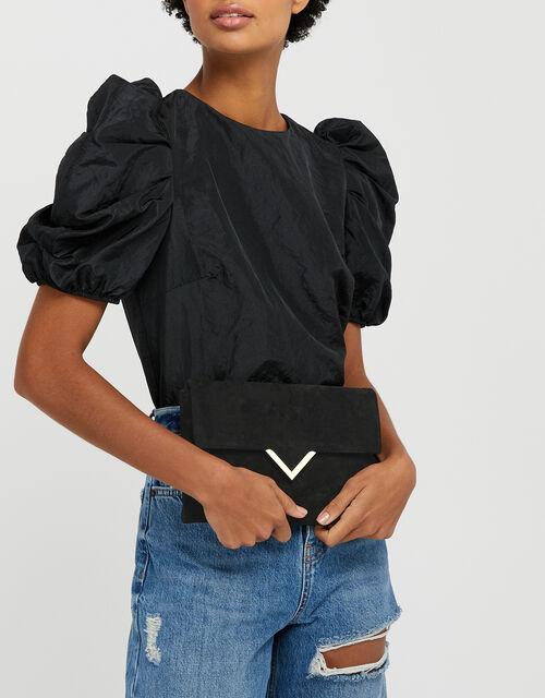 Natalie Suedette Clutch Bag, Black (BLACK), large