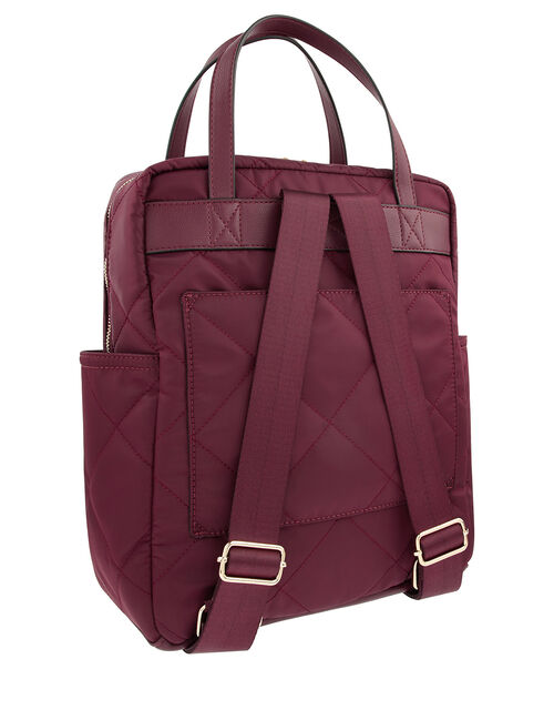 Emmy Vegan Quilted Backpack, Red (BURGUNDY), large