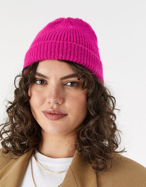 Girls Soho Knit Beanie Hat Pink, Pink (FUCHSIA), large