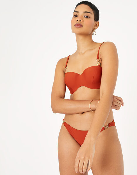 Ring Detail Moulded Bandeau Bikini Top Orange, Orange (RUST), large