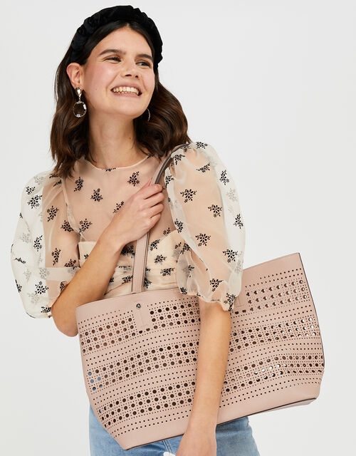 Perforated Shopper with Detachable Zip Pouch, Nude (NUDE), large