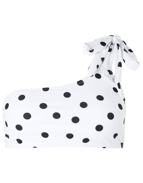 One-Shoulder Polka-Dot Bikini Top, White (WHITE), large