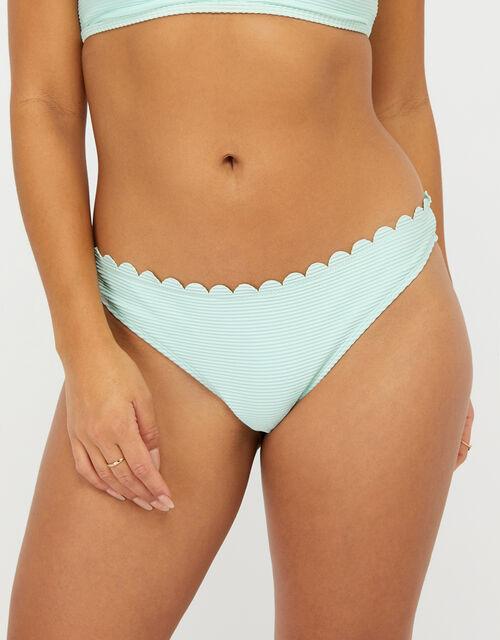 Ribbed Bikini Briefs with Scalloped Edge, Blue (AQUA), large