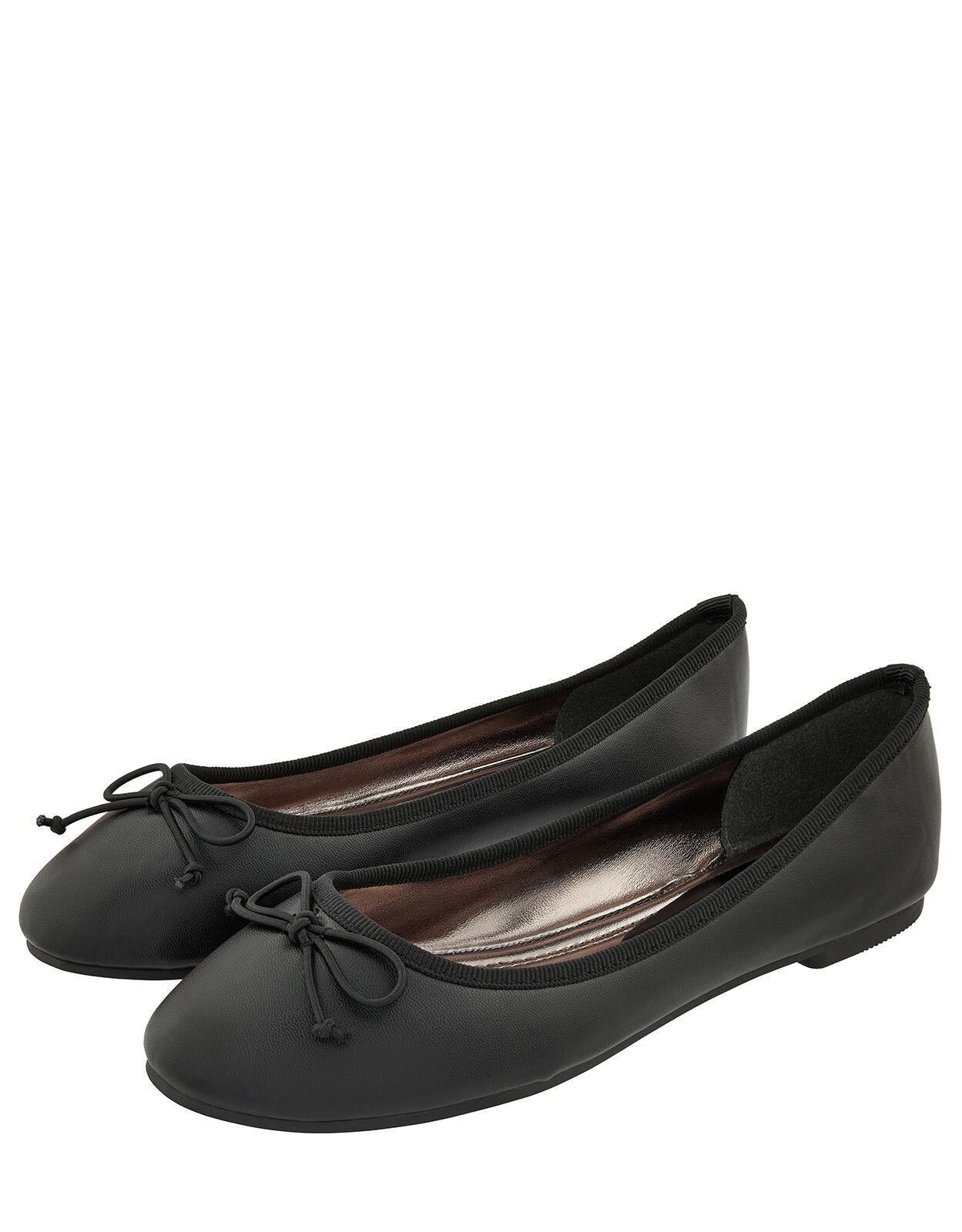 Bow Ballerina Flat Shoes Black | Flat