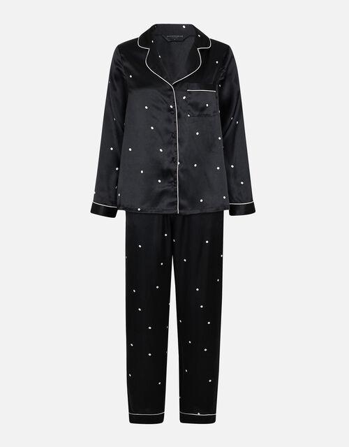 Spot Print Satin PJ Set, Black (BLACK/WHITE), large