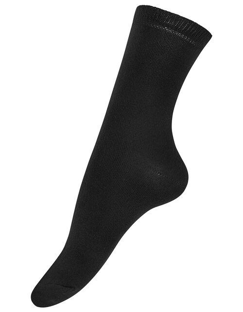 3pk Basic Bamboo Ankle Socks, Black (BLACK), large