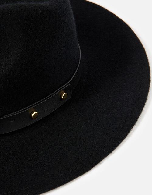 Mila Fedora Hat in Pure Wool, Black (BLACK), large