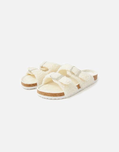 Buckle Footbed Borg Slippers, Cream (CREAM), large