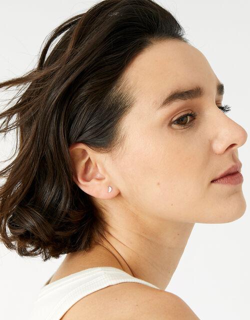 Sterling Silver Moon Single Stud Earring, , large