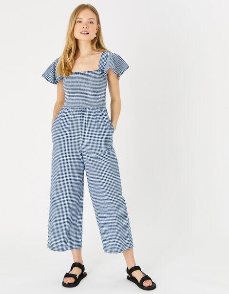 Gingham Print Smocked Jumpsuit Blue, Blue (NAVY), large