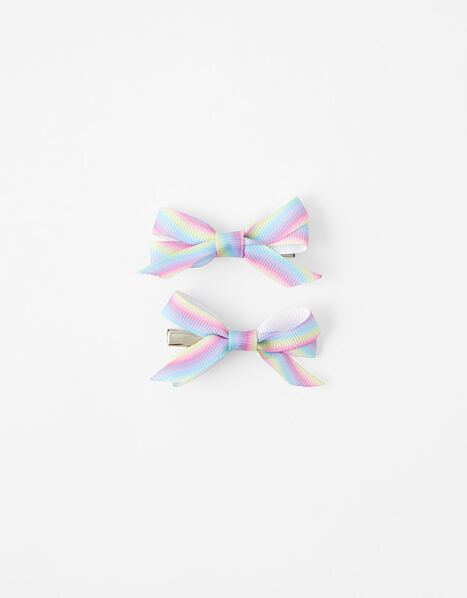 Rainbow Bow Hair Clips, , large