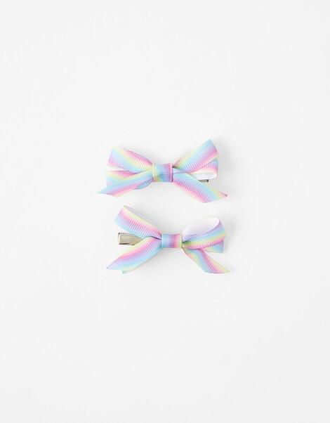 Rainbow Bow Hair Clips, , large