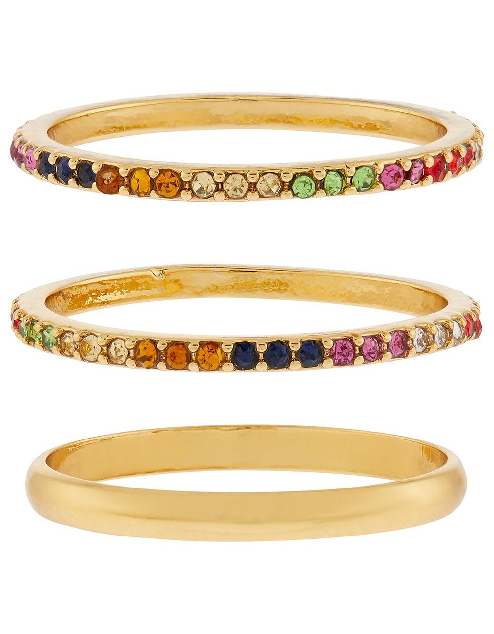 Rainbow Gem Stacking Ring Set, Multi (BRIGHTS-MULTI), large