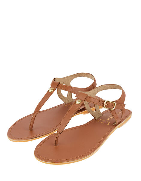 Seashell Charm Leather Sandals Tan, Tan (TAN), large