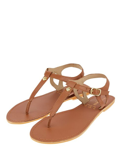 Seashell Charm Sandals, Tan (TAN), large