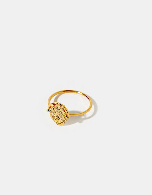 Gold-Plated Amulet Coin Ring, Gold (GOLD), large