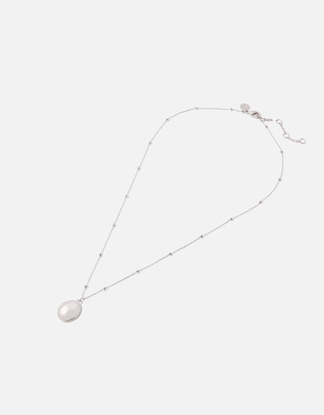 Platinum-Plated Locket Pendant Necklace, , large