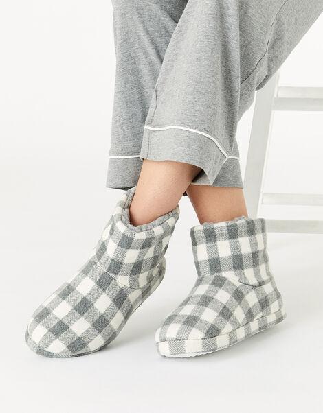 Check Print Slipper Boots Grey, Grey (GREY), large