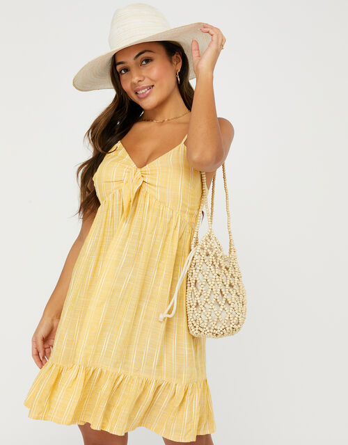 Tie Front Striped Dress, Yellow (YELLOW), large