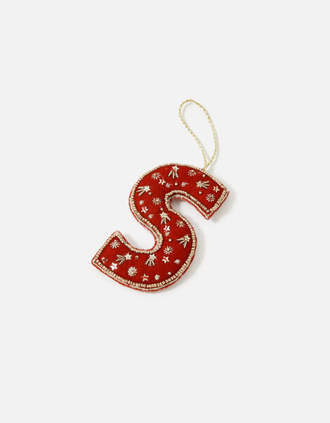 Embellished Initial Hanging Decoration Red, Red (RED), large