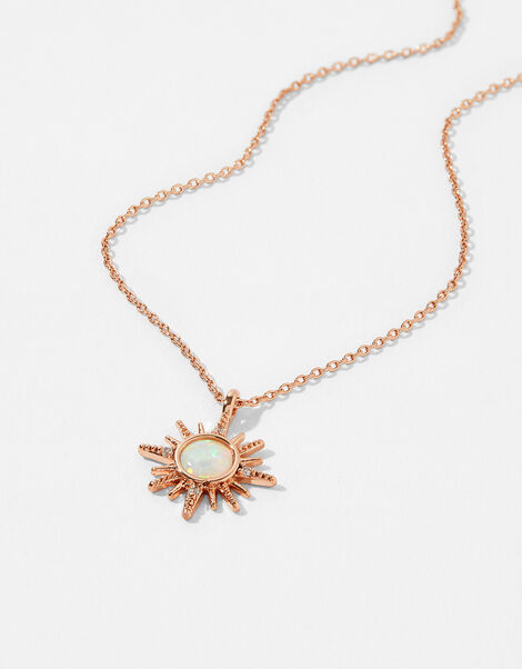 Rose Gold-Plated Starburst Necklace, , large